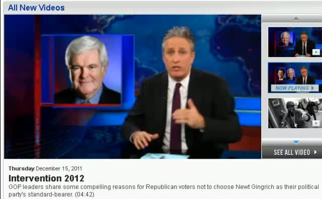 Comedy Central The Daily Show Jon Stewart Newt Gingrich 12-14-11