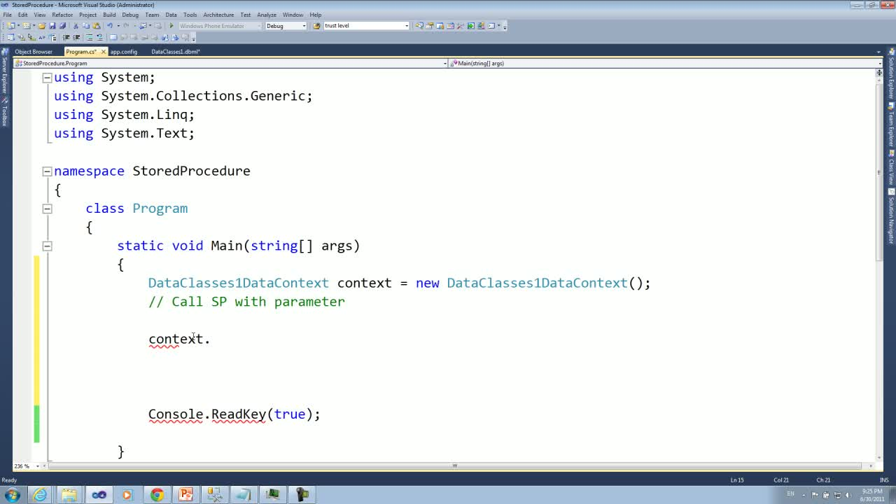 LINQtoSQLStoredProcedure