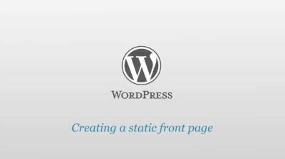 Creating a static front page for your blog