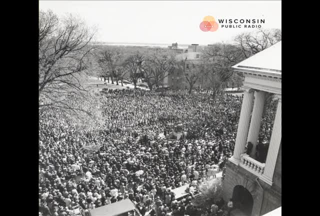 Dr. Martin Luther King Memorial rally, Bascom Hill, UW-Madison, April 5, 1968
