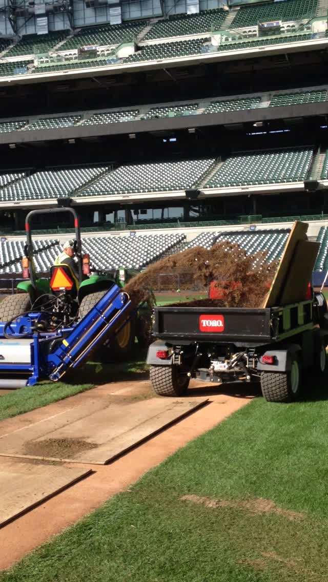 Grounds Crew Replaces Turf at Miller Park