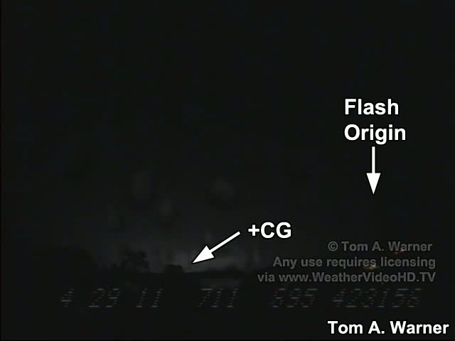 Multiple +CG flash with Upward Leaders, 8/30/11 (Standard-speed video)