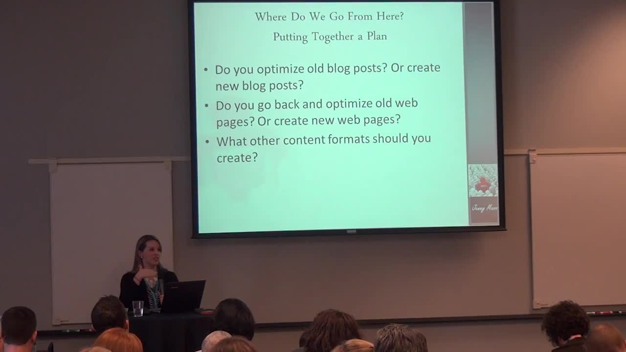 Jenny Munn: Content Marketing Workshop: How To Plan, Optimize And Analyze Your Efforts