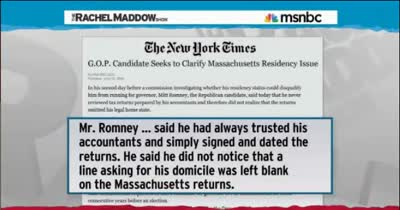 TRMS ROMNEY AND HIS TAXES You'll have to take my word for it