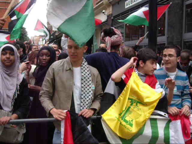 Hezbollah and calls for jihad outside Israeli Emb., London. 12 May.
