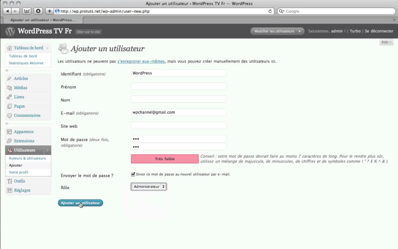 Supprimer le compte Administrateur de WordPress