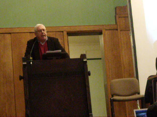 Bernard Regan of PSC speaking at meeting about Egyptian Rev.