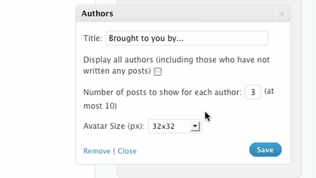 Authors Widget-
