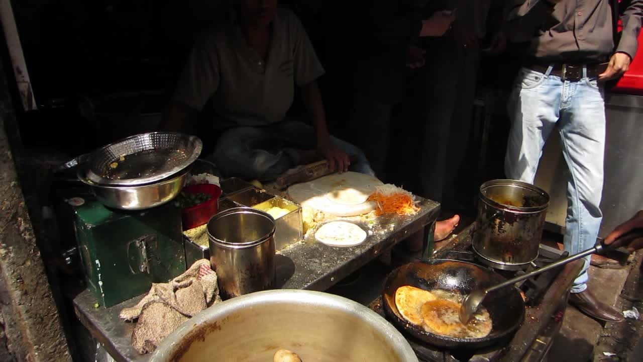Making Parathas on a side street in Delhi