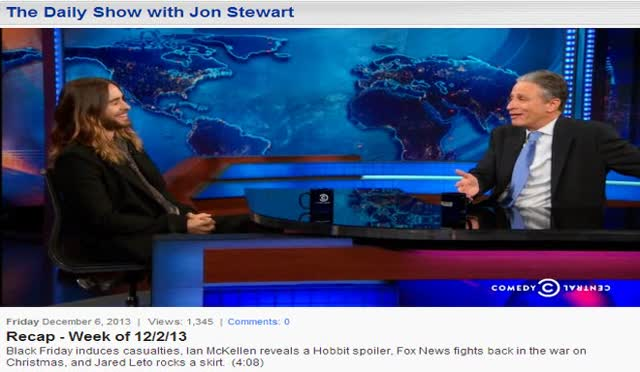 DAILY SHOW RECAP – WEEK OF 12-2-13