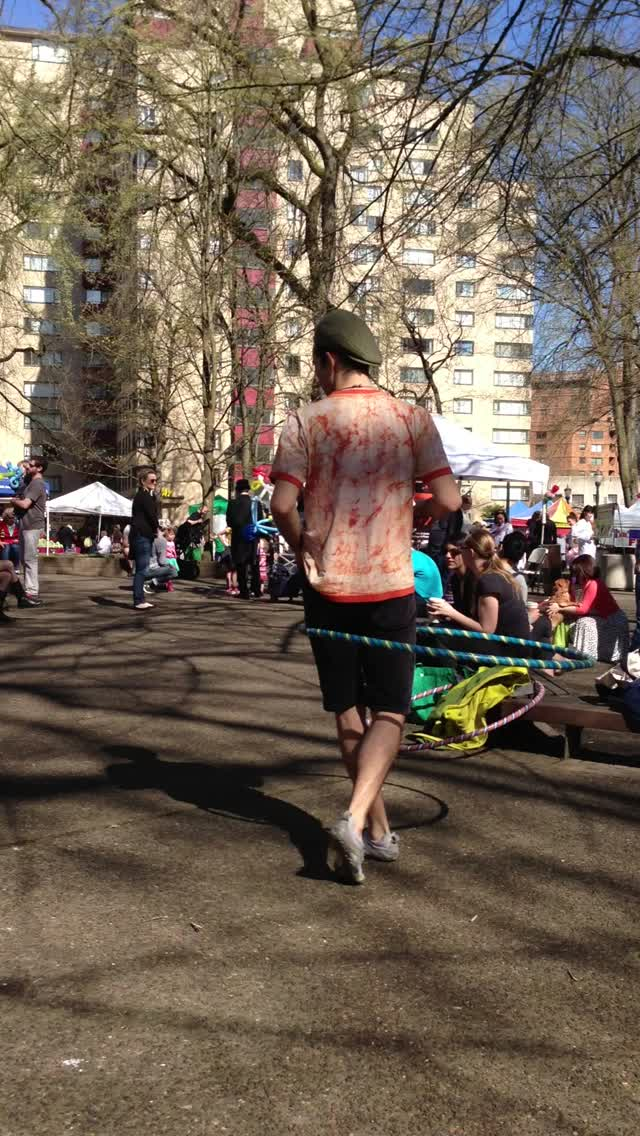 Hula-hooper at the Portland Farmer's Market at PSU