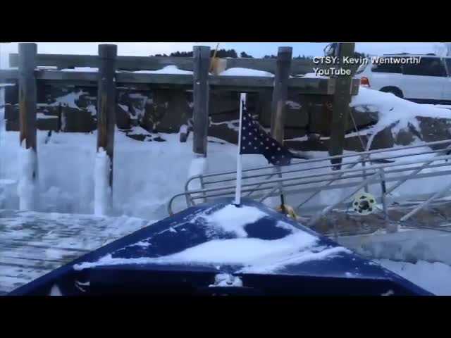 Ferry Icebreaking At Stone Pier , Maine