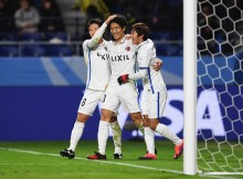 SUITA, JAPAN - DECEMBER 11:  Mu Kanazaki (C) of Kashima Antlers celebrates scoring his team's second goal with team mates during the FIFA Club World Cup second round match between Mamelodi Sundowns and Kashima Antlers at Suita City Football Stadium on December 11, 2016 in Suita, Japan.  (Photo by Shaun Botterill - FIFA/FIFA via Getty Images)