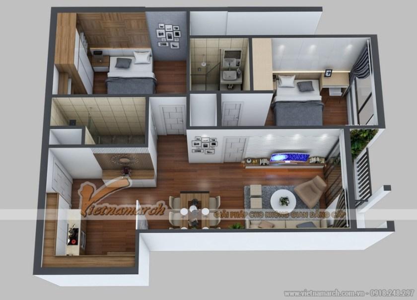 Mặt bằng thiết kế nội thất căn hộ 73m2 căn 06 Park 5
