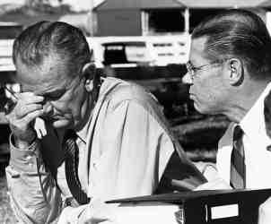 President Johnson Reacting to War News