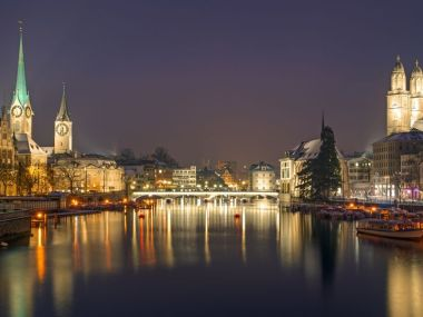 17593667 - panorama of zurich at night