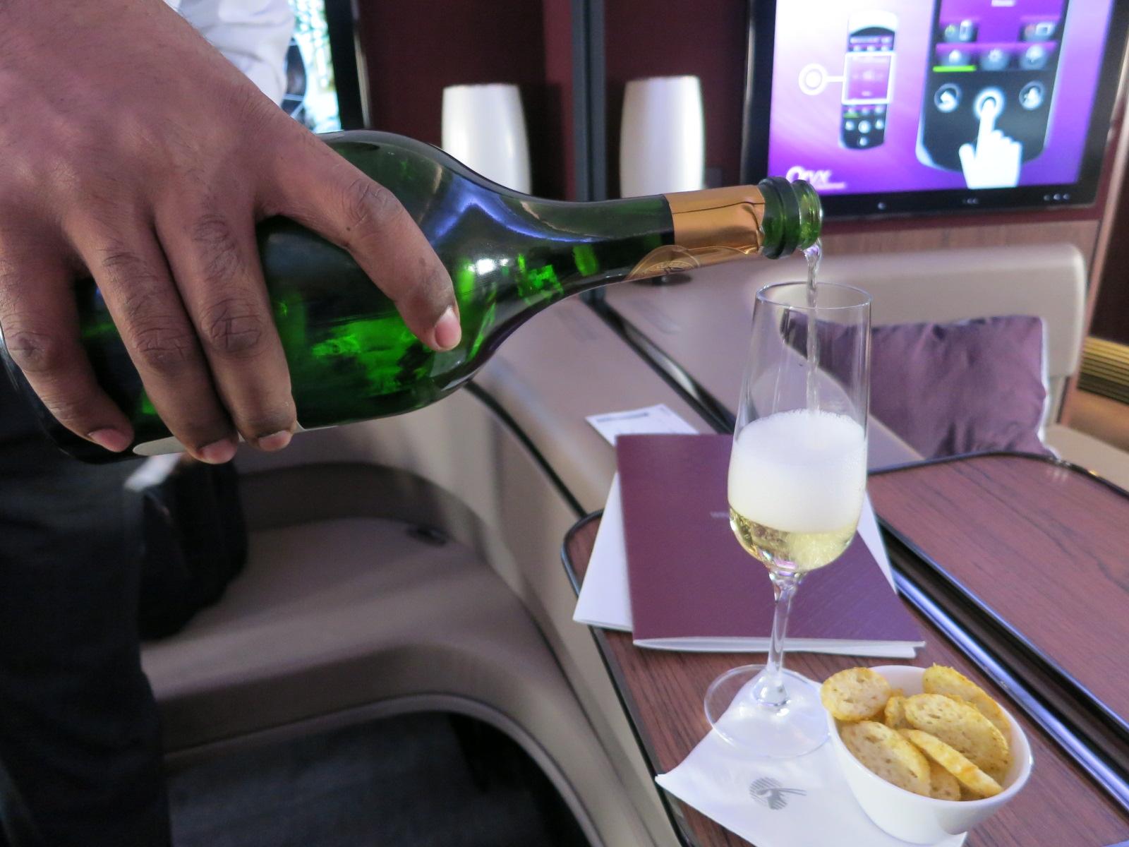 Qatar Airways A380 first class champagne Bangkok-Doha