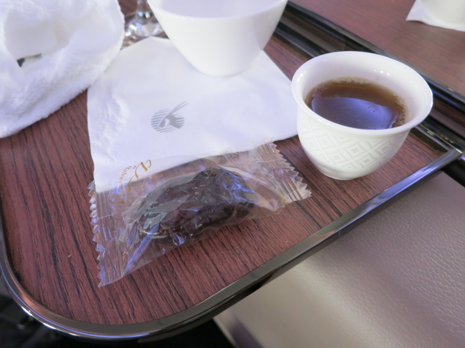 Qatar Airways A380 first class Bangkok-Doha coffee and dates