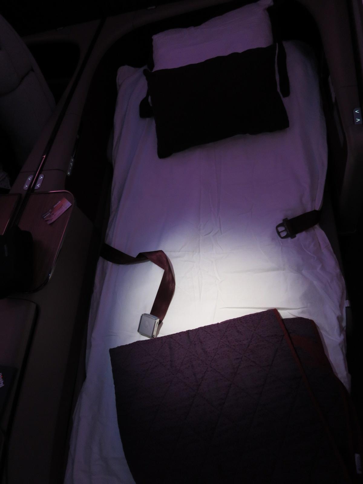 Qatar Airways A380 first class bed Bangkok-Doha