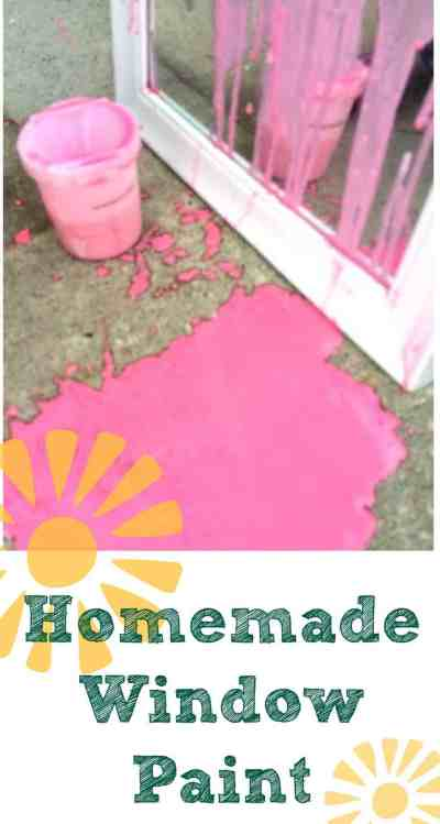 Make your own homemade window paint and take it outside! The will kids will love to make this recipe again and again. Paint and wash, paint and wash. Outdoor art is a great boredom buster and a great excuse to wash the windows!