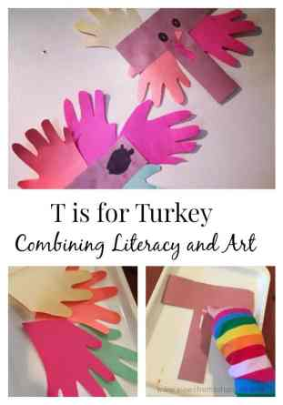 This fun turkey Thanksgiving craft uses the letter 'T' to combine some early reading and letter identification with arts and crafts.