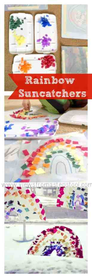 Kid-made rainbow suncatcher decorations for a variety of ages that will brighten up any window and welcome Spring!