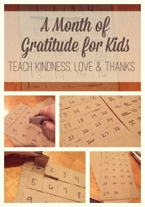 Teach gratitude this holiday season with a month of activities! We are talking about kindness, love and thanks.