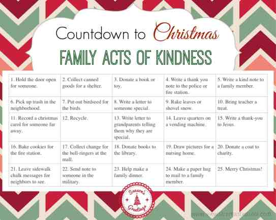 FREE PRINTABLE acts of kindness calendar. Counting down to Christmas, perfect to use with an Advent Calendar.