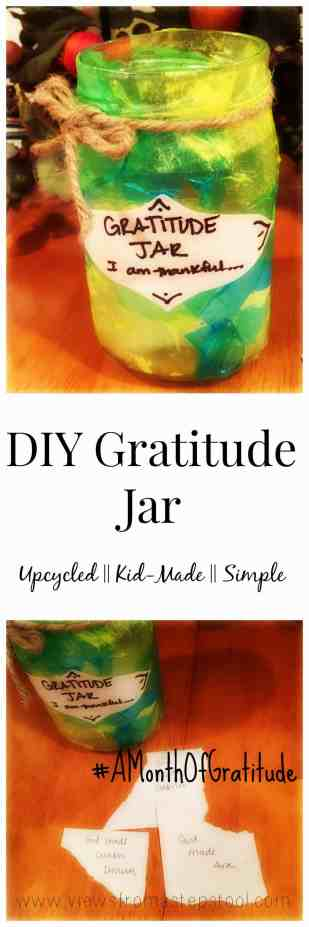Make your own up cycled gratitude jar! Encourage thankfulness in your kids.