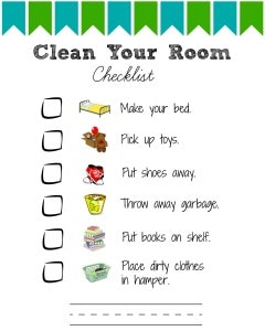 This simple checklist is perfect for toddlers and preschoolers! They will know exactly what is expected of them. Laminate it to re-use it and use a dry-erase marker or use stickers to tick off items as they are accomplished.