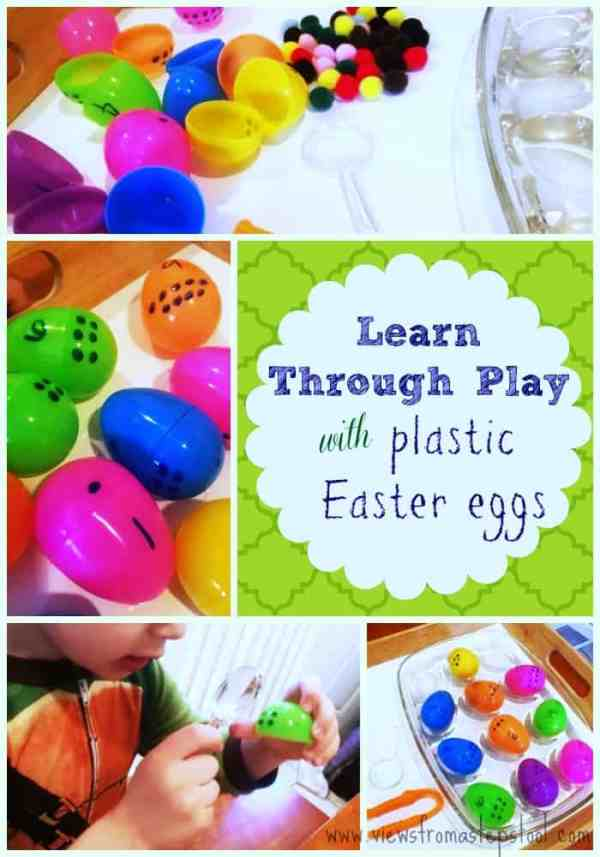 By adding some numbers to plastic Easter eggs, kids are encouraged to count and use fine motor skills in this fun Easter egg counting game for preschoolers.