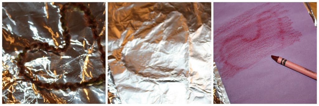 Wow! By sandwiching yarn in some aluminum foil, kids can create a rubbing template to create artwork! This process encourages imagination, trial and error, and some fine motor work. As with all process art, this projects really focuses much more on the process of creating the art, rather than the finished product itself.