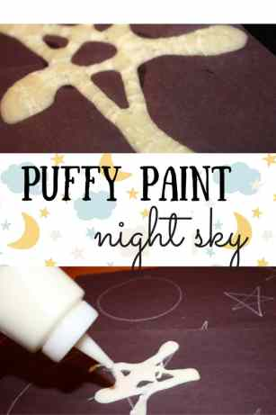 This fun art project based on the book, Time for Bed, creates a puffy paint night sky that can glow in the dark! Fun for kids of all ages.