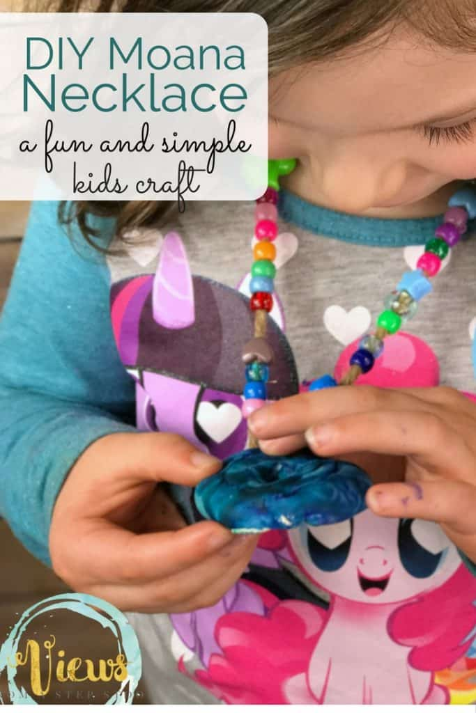 This simple Moana necklace was a really fun Mommy and Me craft for my daughter and I to do together.