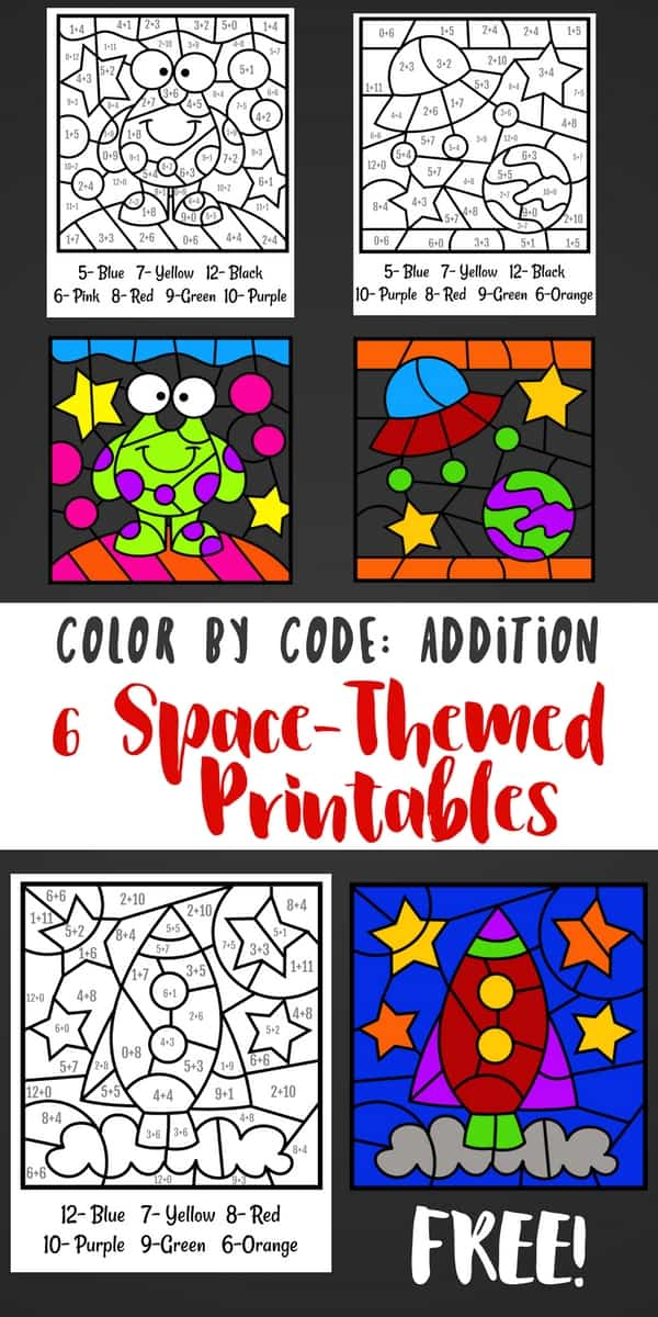These space coloring sheets encourage kids to color by code. Solving addition problems gives you the answer of which color to use in each section.