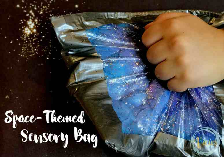 This space sensory bag is like a galaxy or a nebula that kids can hold in their hands and squish! A mess-free sensory experience for babies and toddlers.