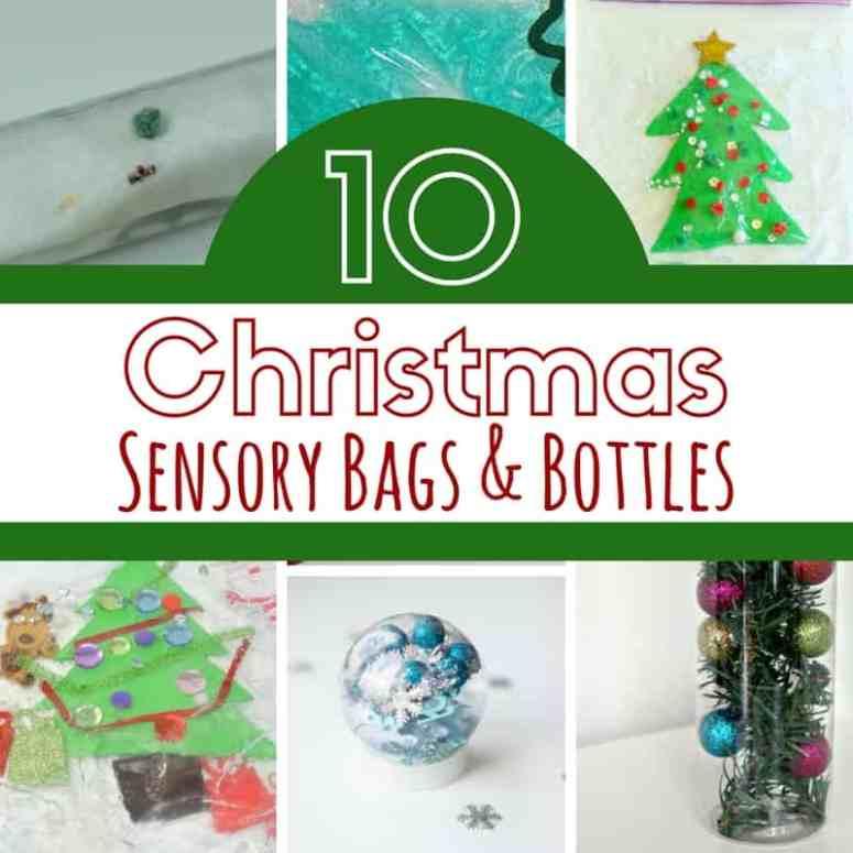 sensory bags and bottles christmas square