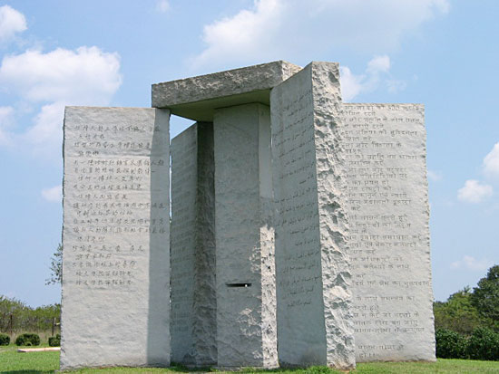 Georgia Guidestones Officially Updated with the Year 2014.... and then removed. WTF? Georgia_Guidestones