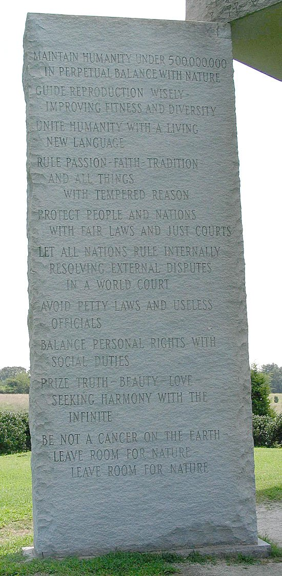 The georgia guidestones commandments..