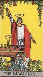 The Magician tarot card displaying the Hermetic axiom As Above, So Below