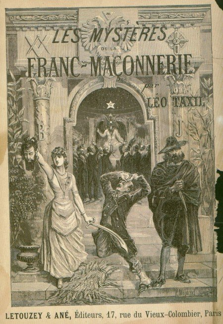 The Book cover of Les mystères de la franc-maçonnerie depicting a Masonic ritual presided by Baphomet, who is literally being worshiped.