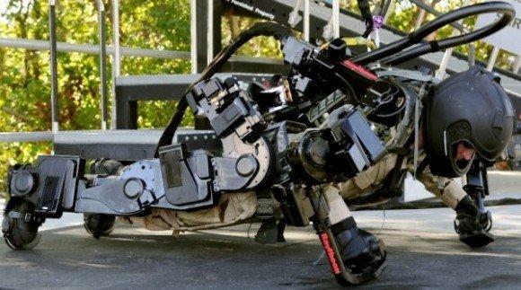 A soldier testing an exoskeleton prototype