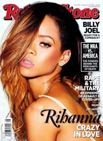 """Another prominent part of the Grammys was Rihanna. Here she is on the February 14th issue of Rolling Stone magazine giving the """"one-eyed salute""""."""