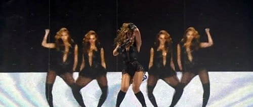"At the beginning of ""Baby Boy"", Beyonce is in front of a black and white background (a representation of duality). Through video effects, she then ""multiplies herself""."