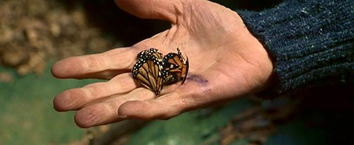 We then learn that its because Charlie, while in the cave, was holding Monarch butterfly in his hand. Get it? Monarch...in his hand...? Monarch Mind Control handler. I can't see how the movie can make it clearer.
