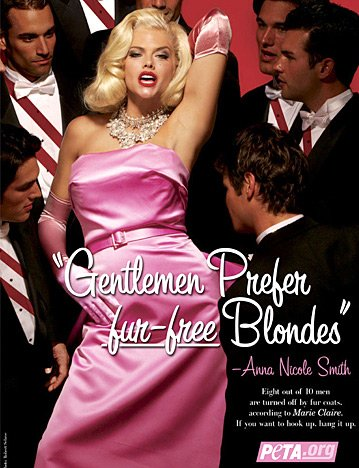 "Anna-Nicole Smith in a recreation of Monroe's movie ""Gentlemen Prefer Blondes""."