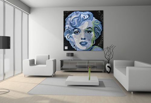 """Rihanna spent $100,000 on this 5-feet Swarovsk portrait of Marilyn Monroe. As seen in my article on Marilyn Monroe, those who represent Beta Programming in today's entertainment industry are all  (programmed to be) """"obsessed"""" with Monroe."""