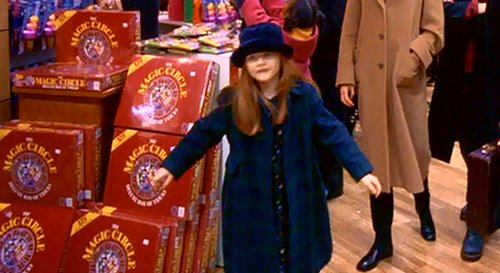 The last scene of the movie takes place at a toy store - a place full of highly symbolic details. Here, Helena walks by a toy called Magic Circle - hinting that there's a link between the occult underworld and the