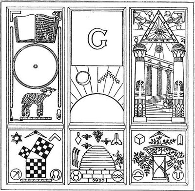 Most of the symbols above can be found on this Masonic panel. Pretty darn obvious.
