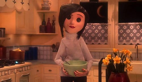 "Coraline finds her ""other mother"" who is warmer, more attentionate and a better cook than her real mother. Also, she has buttons instead of eyes."